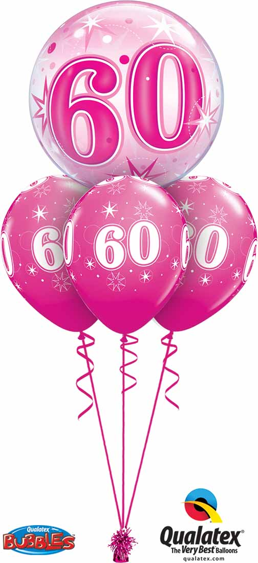 43127 44939 60th Bday Pink Sparkle Bubble Layer