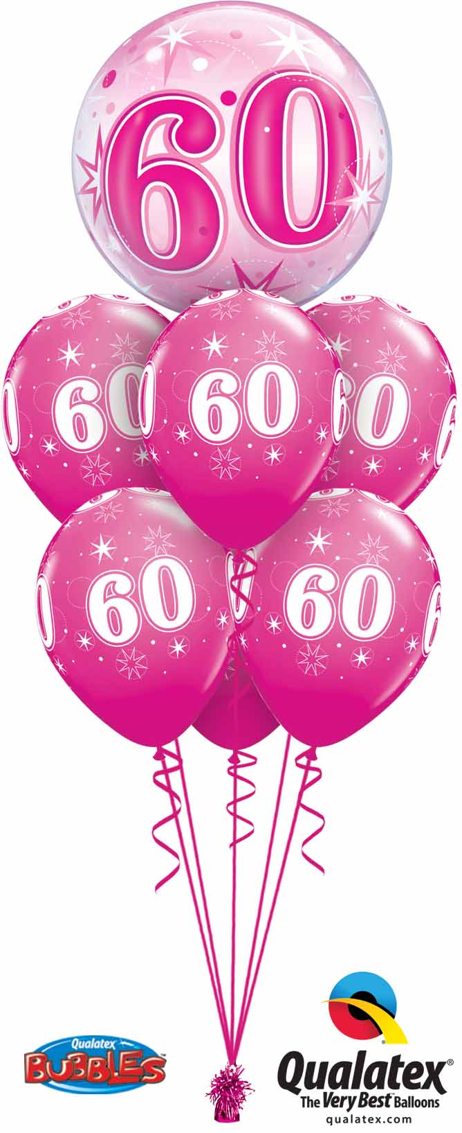 43127 44939 60th Birthay Pink Sparkle Bubble Luxury