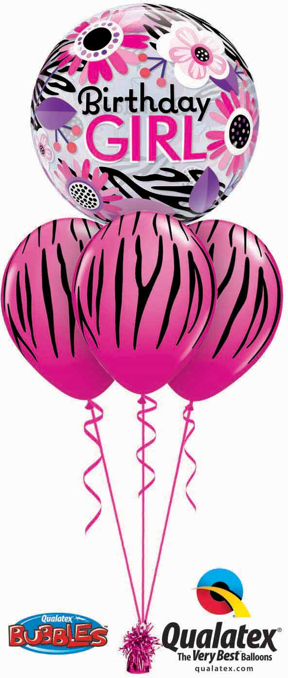 Birthday Pink Zebra Bubble Layer